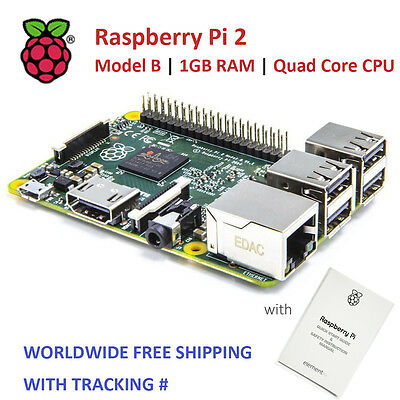 RASPBERRY PI 2 V1.2 - Model B. 1GB RAM, Quad Core CPU (Worldwide Free Shipping)