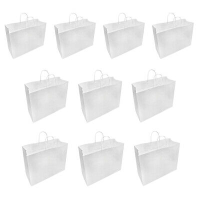 White 16x6x12 Inch Recycled Paper Vogue Shopping Bag 10 Pc