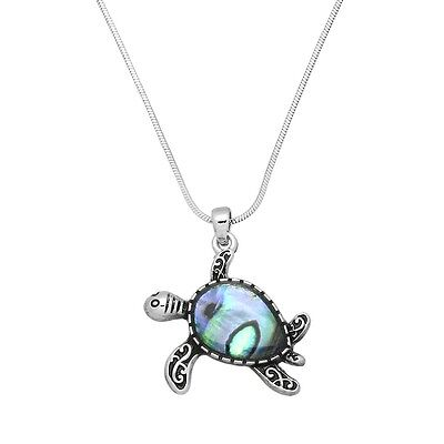 Turtle Necklace Pendant Charm Snake Chain Sea Life ABALONE SHELL SILVER Jewelry