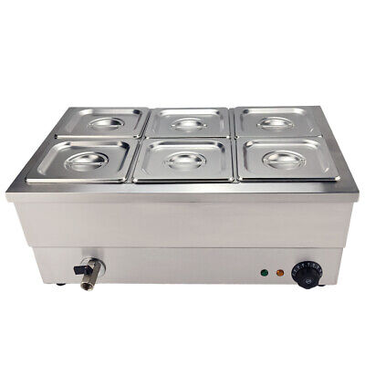 Stainless Steel Bain Marie Food Warmer Buffet Warmer 6x 16 Gn Container