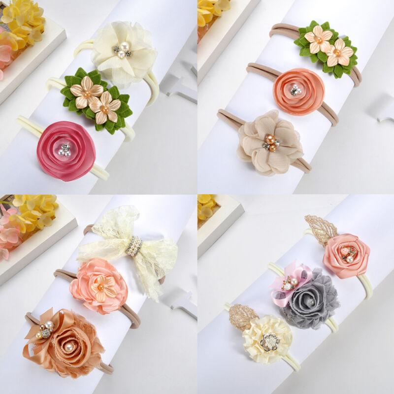Beauty 3Pcs Baby Girls Infant Toddler Flower Bow Headband Ha