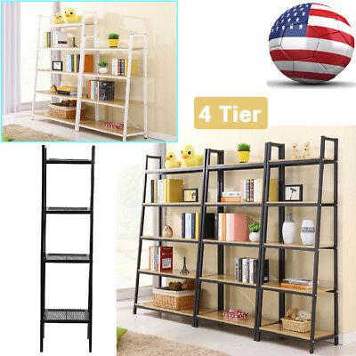 4 Tier Metal Leaning Ladder Wall Shelf Bookcase Bookshelf Storage Shelves Unit