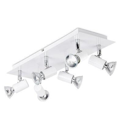 Modern White & Chrome Adjustable 6 Way GU10 Ceiling Spot Light Spotlight Lights