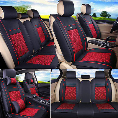 5 Seater Cooling Mesh&PU Leather Seat Covers Black&Red Front+Rear Pillow 3pc Set