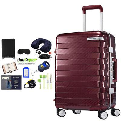 "Samsonite Framelock Hardside Luggage with Wheels 20"" Cordovan + Accessory Kit"