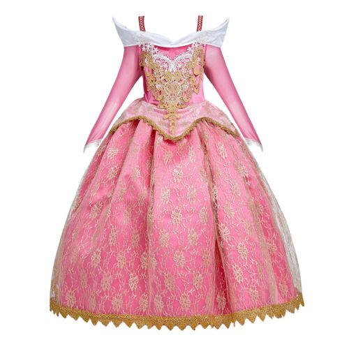 Kids Girl Princess Sleeping Beauty Aurora Cosplay Party Dress for Halloween Xmas