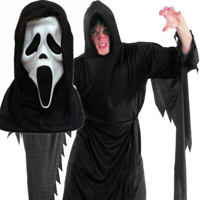 SCREAM ROBE + MASK Ghost Vampire Hooded Cape - Scream Robe Kostüme
