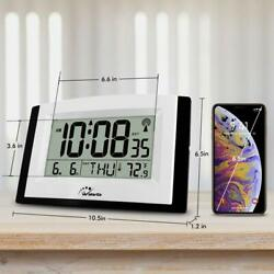 WallarGe LCD Digital Wall Clock Atomic Clock Fold Out Stand Radio Office Kitchen