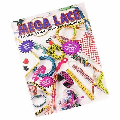 Mega Lace for Extra Wide Plastic Lacing Crafting Book - DIY Key Chains & More - Plastic Lacing