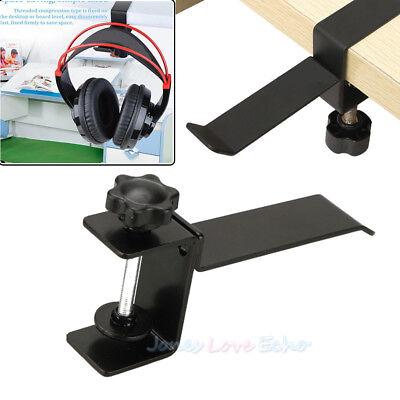 Steel Headset Headphone Earphone Holder Hanger Stand Table Clamp Clip w/ Screws