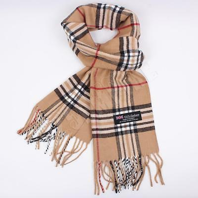 Men Women unisex 100%CASHMERE Camel Scarf tartan stripe Plaid SCOTLAND