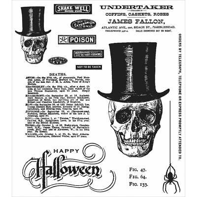 Tim Holtz Rubber Stamps - Undertaker, Happy Halloween, Skull, Spider, Poison ()