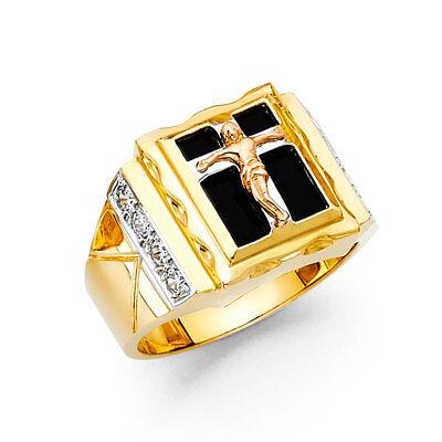 14k Yellow 3 Tone Gold CZ Onyx Religious Crucifix Jesus Cross Fashion Ring Band