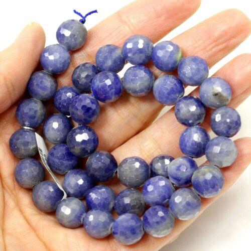 "Blue Sodalite Faceted Round Beads Healing Loose Beads Gemstone Free Ship 15.5"""