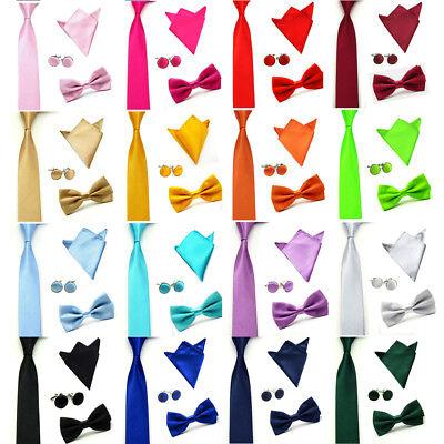 (Men's Stylish Bow Tie Necktie High Quality Hanky Cuff Link Pocket Square Set )