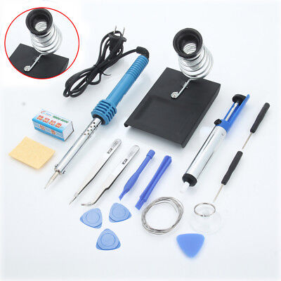 14in1 110v 60w Rework Electric Soldering Iron Kit Desolder Pump Iron Stand Set