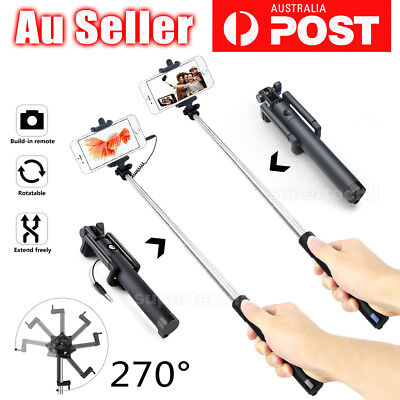 NEW Wired / Bluetooth Extendable Handheld Remote Selfie Stick For iPhone Samsung