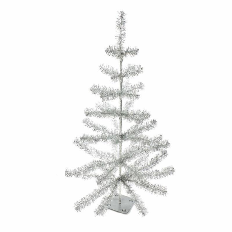 "Kurt Adler 36"" Metallic Sterling Silver Faux Feather Tabletop Christmas Tree"