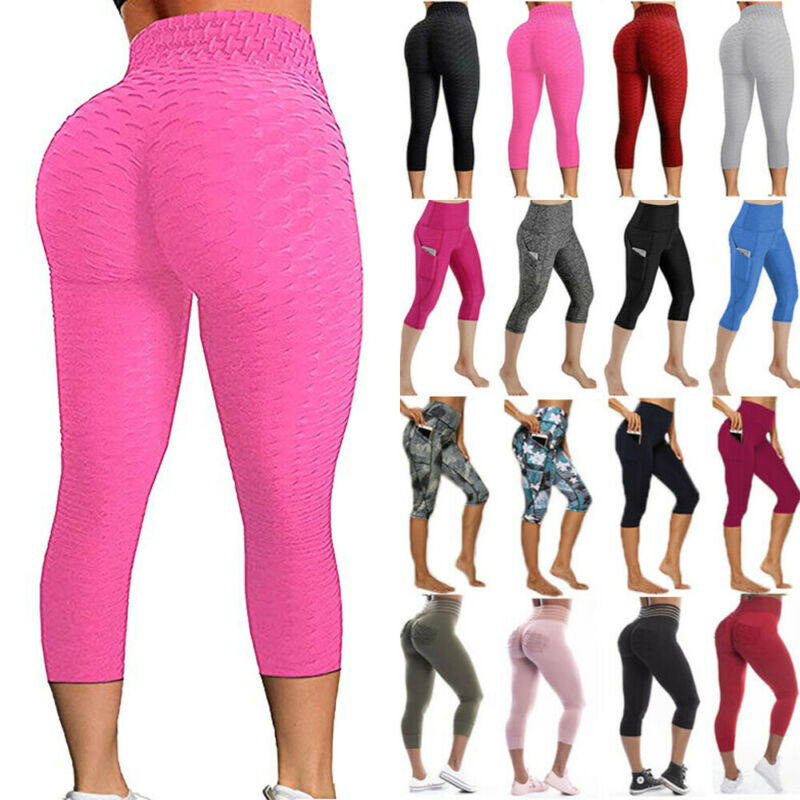 Women Yoga Pants Capri High Waist Anti-Cellulite Workout Trousers Leggings Booty