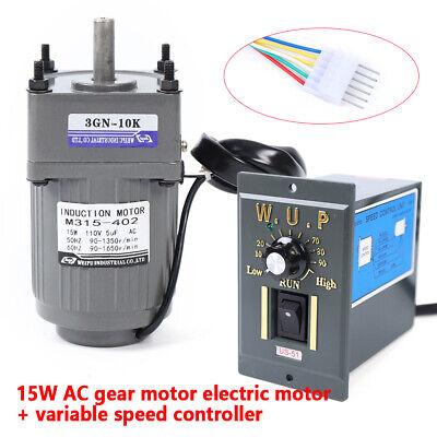 15w Ac110v Gear Motor Electric Motor Variable Speed Controller 5k 10k 25k