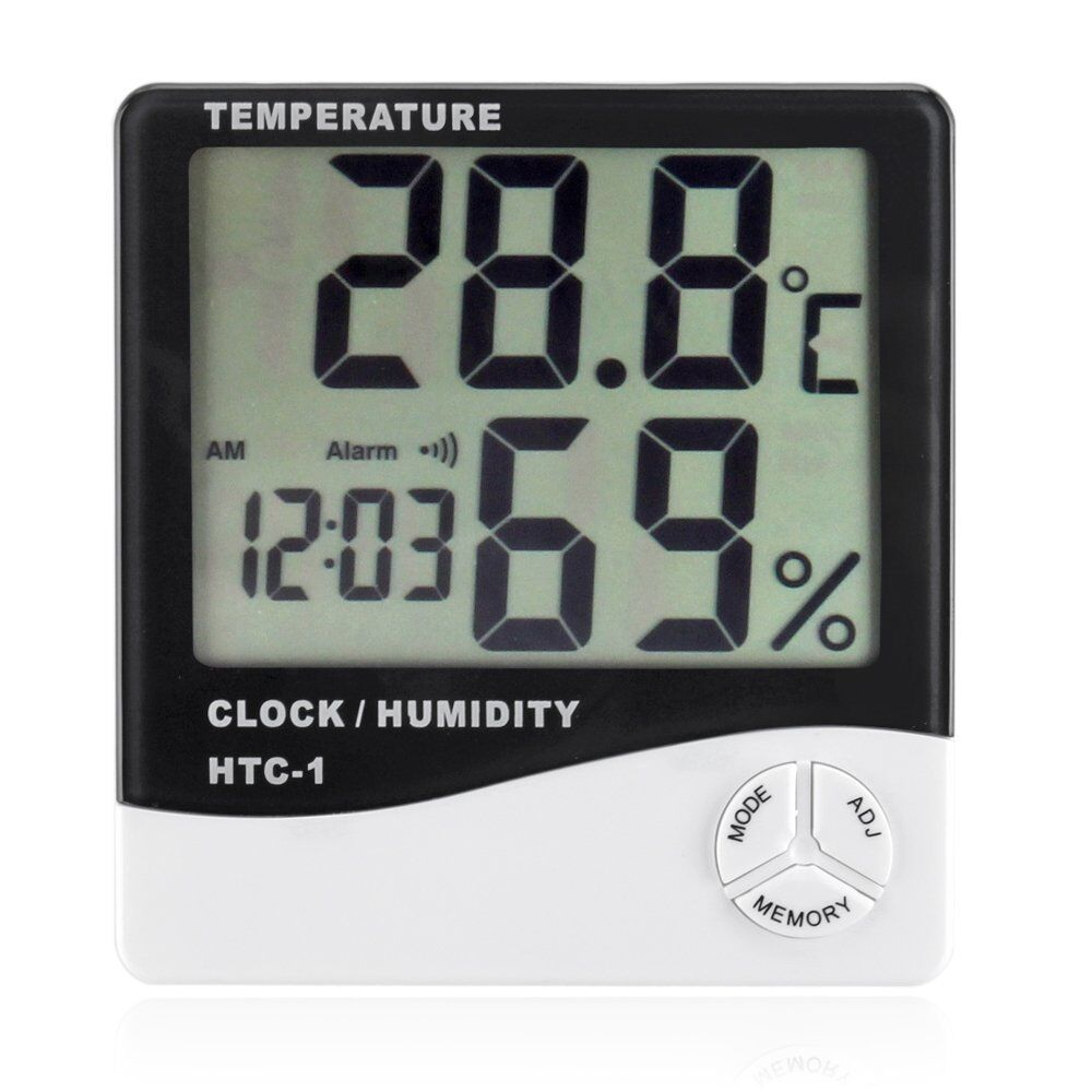 Hygrometer Thermometer Temperature Humidity Meters W/Alarm Clock LCD Display