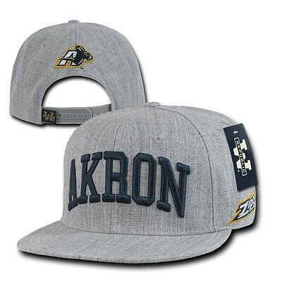 Heather Gray University Akron UA Zips NCAA Flat Bill Snapback Baseball Cap Hat Akron Zips Ncaa Baseball