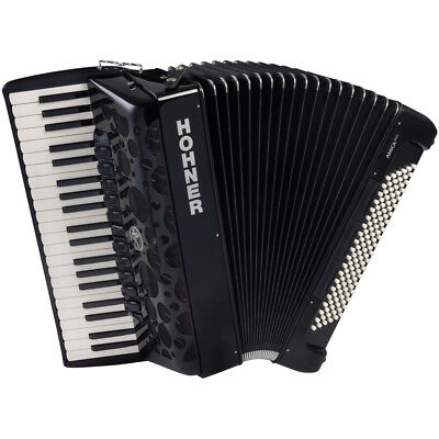 Hohner AMICA IV Series 120 Bass Chromatic Piano Accordion - Black + Case, Straps