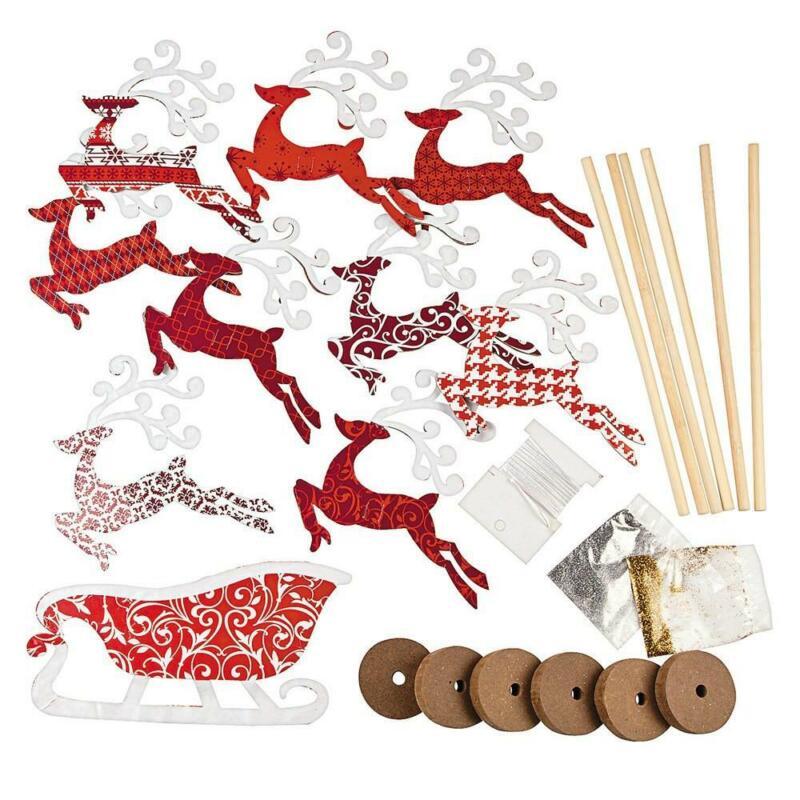 Set of 6 Flying Reindeer Figurines DIY Craft Kit