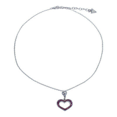 Guess Jewelry UBN11228 Ladies Silver Stainless Steel Heart Necklace Crystal Crystals Guess Ladies Jewelry