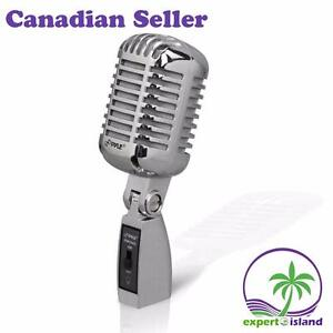 Pyle (PDMICR68) Classic Retro Die Cast Metal Vintage Style Dynamic Vocal Microphone w/16ft XLR Cable