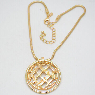 chico's jewelry matte gold tone openwork pendant large circle necklace -