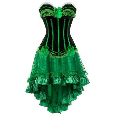 Women Lace Trim Corset Dress Gothic Corsets and Bustiers + High Low Skirt S-6XL - Corsets And Bustiers