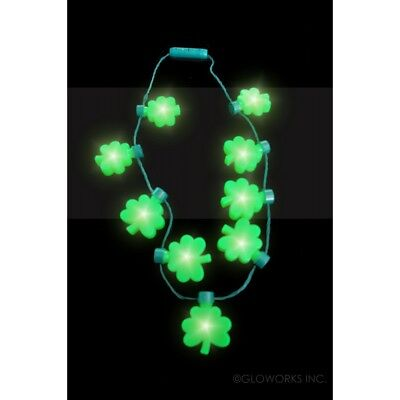 10 FLASHING ST. PATTY'S DAY NECKLACE WITH SHAMROCKS LIGHT UP GLOW WITH BATTERY](Light Up Necklaces Bulk)