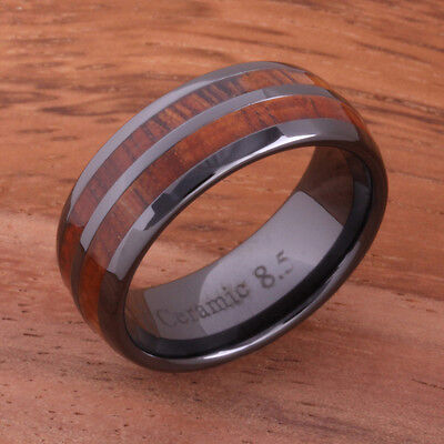 High Tech Black Ceramic Koa Wood Rings Double Row Wedding Ring 8mm TUR4011 8 Mm Ceramic Ring