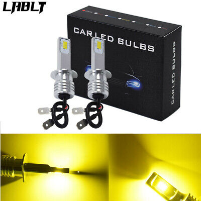 H1 LED Fog Lights Conversion Bulbs Kit 35W 4000LM 3000K Yellow Plug And Play