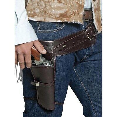 Authentischer Pistolengürtel Halfter Holster Waffen Gürtel Cowboy Western Kostüm
