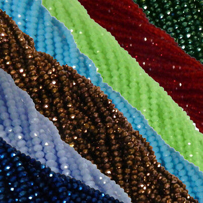4mm Faceted Rondelle Beads 120 Piece Glass Crystal Beads 19 colors U-Pick - Faceted Glass Crystal Beads