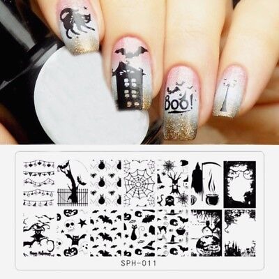 Nail Art Stamping Plates Image Plate HALLOWEEN Spiders Web Witch Bats Tree - Halloween Tree Nail Art