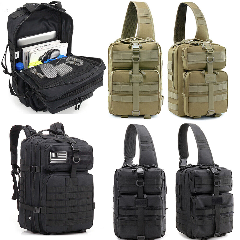 Army Molle Military Backpack Mens Sling Bag Pack Large Camping Hiking Waterproof Camping & Hiking