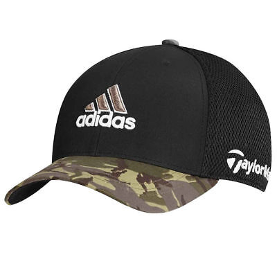 bf8d2e24e6ad3 TaylorMade Adidas Golf Tour Mesh FlexFit Black Camo Camouflage Fitted Hat  Cap