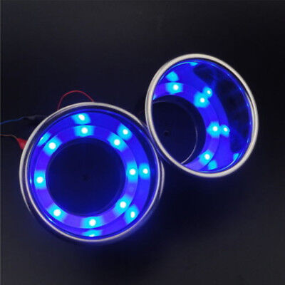 2× Car SUV Blue 8 LED Light Cup Drink Holder Stainless Steel For RV Marine Boat