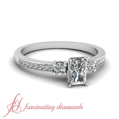 .65 Ct Radiant Cut E-Color Diamond Gold Engagement Rings For Women GIA Certified