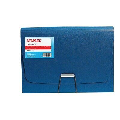 Staples Plastic 7 Pocket Reinforced Expanding Folder Letter Size Blue 2806368