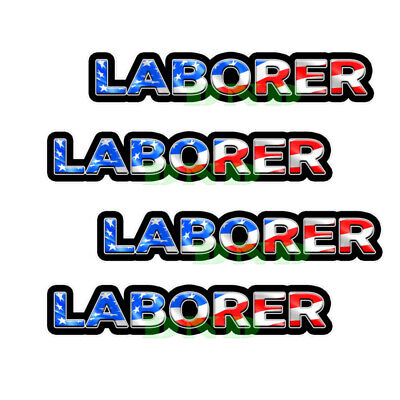 Laborer Us Flag Lunch Box Hard Hat Tool Box Helmet Sticker 4 Pack 3 Inch