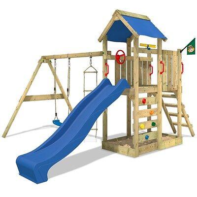 WICKEY MultiFlyer Spielturm Spielhaus Kletterturm Schaukel blaue Rutsche Garten