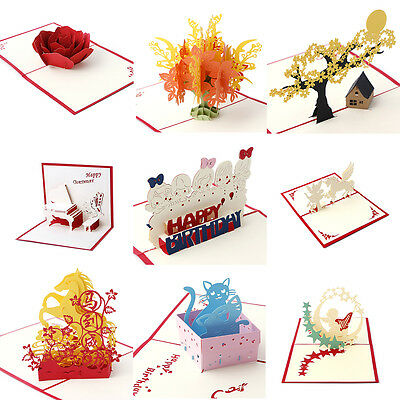 3D Pop Up Greeting Card Handmade Happy Birthday Merry Christmas -