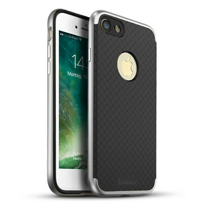 Premium Handy Schutzhülle Bumper Backcover iPaky Case silber für Apple iPhone 7 Black Premium Silikon Cover
