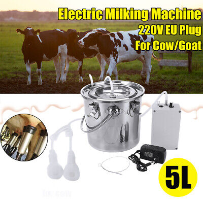 New 5l Dual Heads Electric Milking Machine Vacuum Impulse Pump Cowgoat Milker