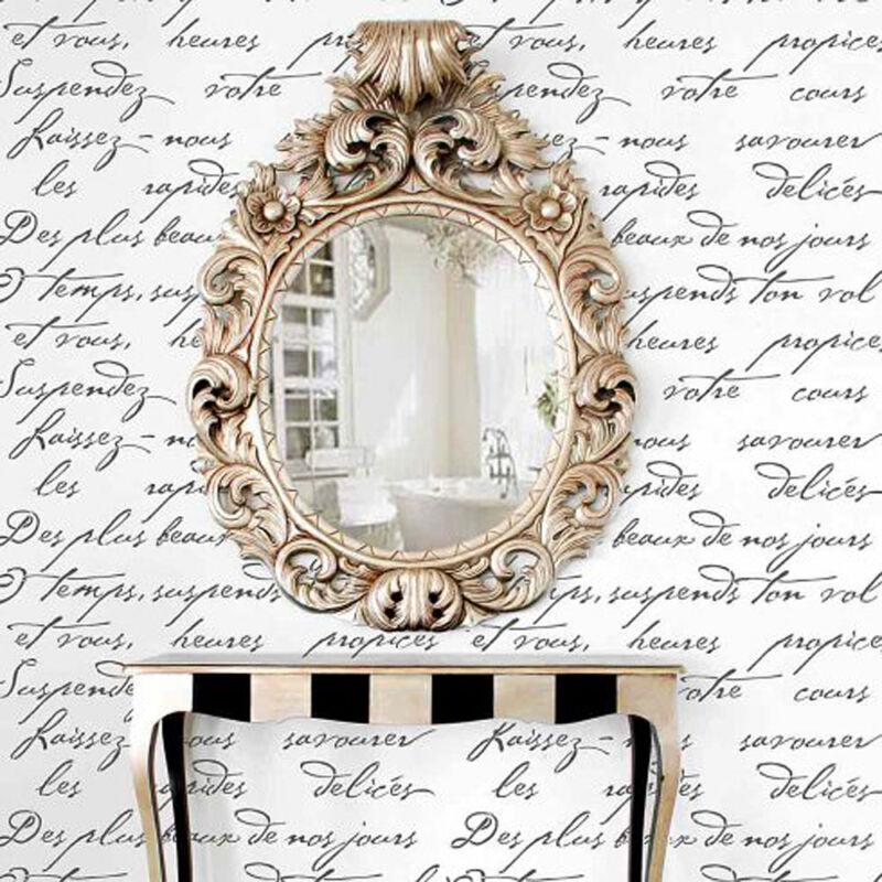 French Poem Allover Wall Stencil - Typography Stencil - DIY Home Decor