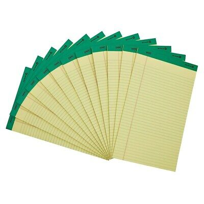 Staples 100 Recy 8-12 X 14 Canary Perforated Writing Pads Wide Ruled 12pk